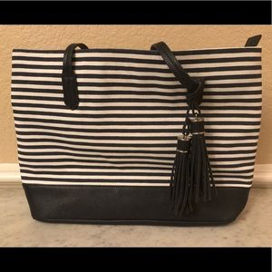 Canvas tote bag Navy blue and white stripes
